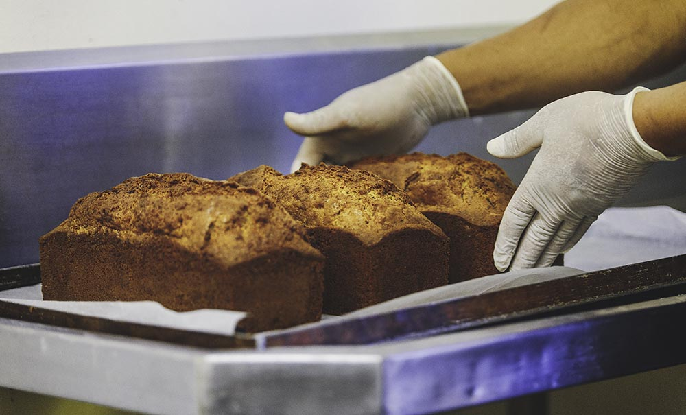 freshly baked banana bread on the premises